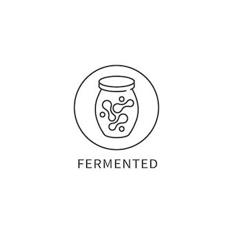 Vectorlijnembleem, kenteken of pictogram - gefermenteerd voedsel. symbool van gezond eten.