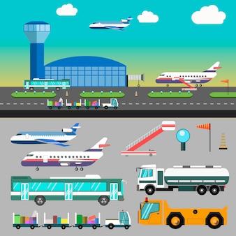 Vectorluchthavenillustratie met vliegtuig.