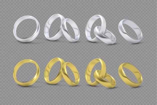 Vectorluxe zilveren en gouden huwelijk