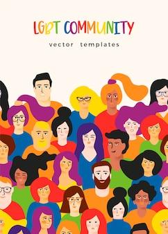 Vectormalplaatje met jonge mannen en vrouwen in lgbt-kleuren.