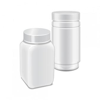Vectormalplaatje van witte plastic fles met schroefdop voor geneeskunde, pillen, lusjes.