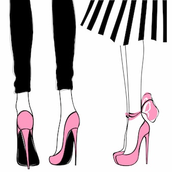 Vectormeisjes op hoge hielen. mode illustratie. vrouwelijke benen