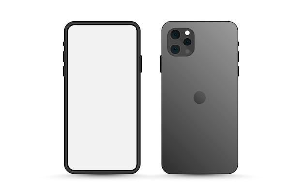 Vectormodel van het scherm en de achterkant van de telefoon model van een telefoon-smartphone met een leeg scherm op een geïsoleerde achtergrond, png Premium Vector