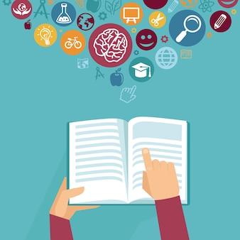 Vectoronderwijsconcept - handen die boek in vlakke retro stijl houden