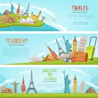 Vectorontwerp van drie horizontale banners van reisillustraties en wereldoriëntatiepunten