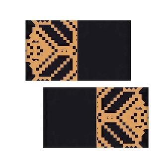 Vectorontwerp van een ansichtkaart in zwarte kleur met een slavisch ornament. uitnodigingskaartontwerp met ruimte voor uw tekst en vintage patronen.
