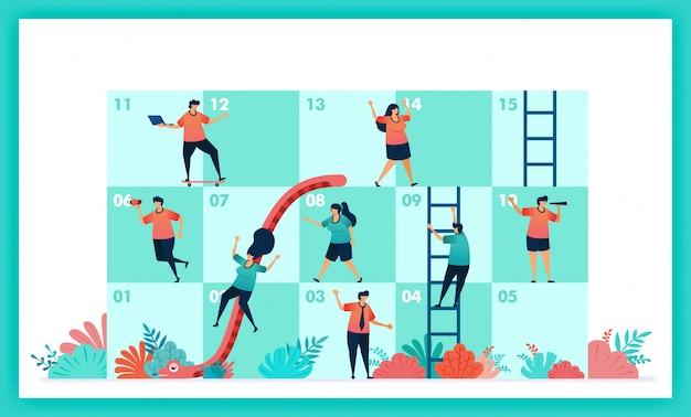 Vectorontwerp van slangen en ladder in samenwerking en teamwerk.