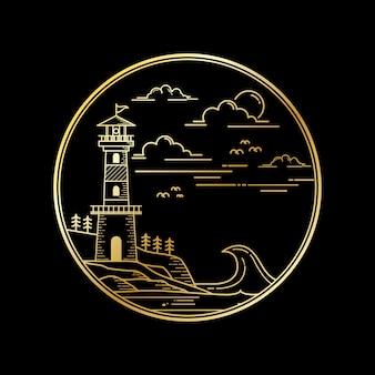 Vectorontwerp van vuurtoren gouden kleur