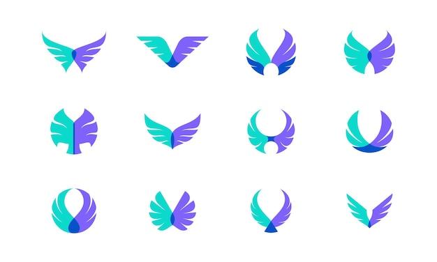 Vectorontwerpbundel van vleugels. geschikt als logo dat staat voor vrijheid, moed en geluk.