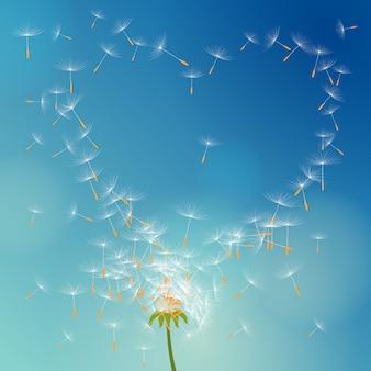 Vectorpaardebloem met zaden die wegvliegen met de wind die liefde vormt