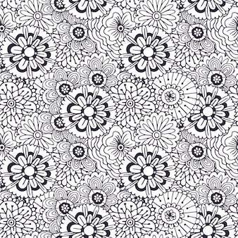 Vectorpatroon met abstract bloemenornament. volwassen kleurboekpagina. zentangle naadloos ontwerp