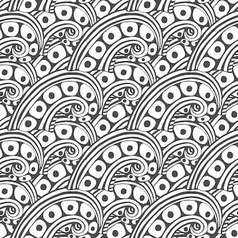 Vectorpatroon met abstract ornament. volwassen kleurboekpagina. zentangle naadloos ontwerp