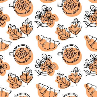 Vectorpatroon met croissants en de bloemen van de cappuccinochrysanthemum in krabbelstijl