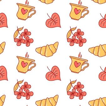 Vectorpatroon met croissants en een kopje koffie in doodle-stijl