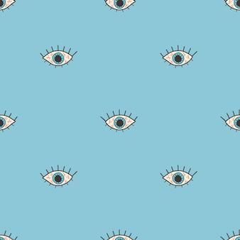 Vectorpatroon met een open rood oog in een vlakke stijl op een blauwe achtergrond