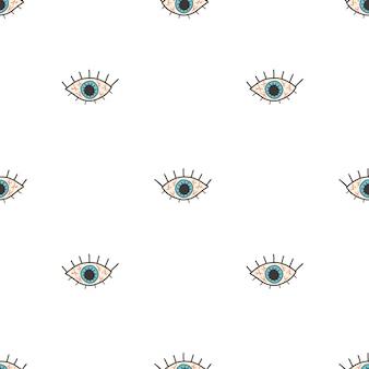 Vectorpatroon met een open rood oog in een vlakke stijl op een witte achtergrond