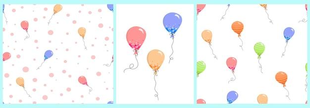 Vectorpatroon met feestelijke veelkleurige ballonnen in een vlakke stijl op een witte achtergrond