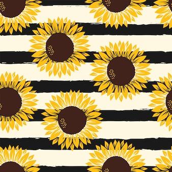 Vectorpatroon met gele zonnebloemen op geel met luipaarddruk op witte achtergrond.