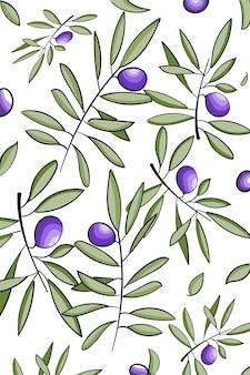 Vectorpatroon met inkthand getrokken olijfboomtakjes die op wit worden geïsoleerd