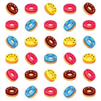 Vectorpatroon met kleurrijke donuts met glazuur en hagelslag op een witte achtergrond