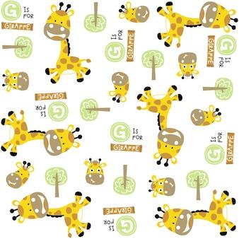 Vectorpatroon met leuke girafbeeldverhaal