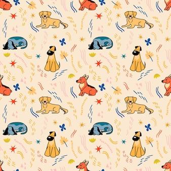 Vectorpatroon met leuke verschillende rassen van honden in beeldverhaalstijl op een beige achtergrond