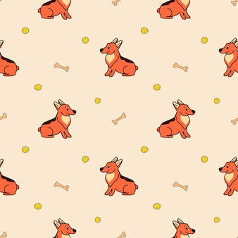 Vectorpatroon met schattige corgi-honden een bal en een bot in een cartoonstijl op een beige achtergrond