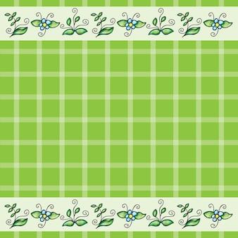 Vectorpatroon of frame met gras en bloemen - doodling design