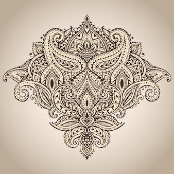 Vectorpatroon van henna bloemenelementen op basis van traditionele aziatische ornamenten. paisley mehndi tattoo doodle illustratie