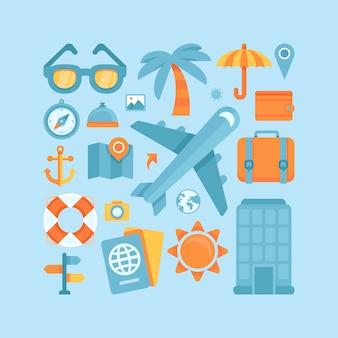 Vectorpictogrammen in vlakke stijl - reis en vakantie
