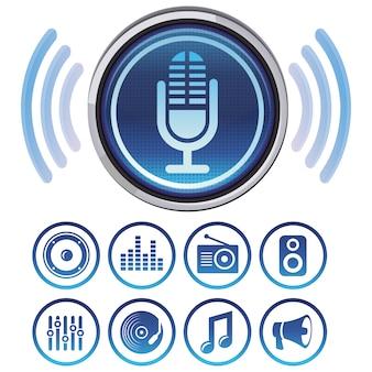 Vectorpodcastpictogrammen en symbolen voor audio apps
