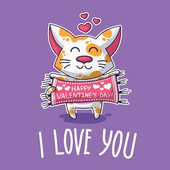 Vectorprentbriefkaar over kat in liefde