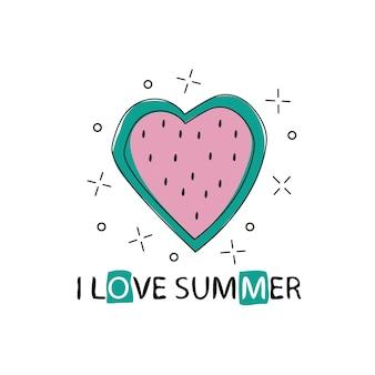 Vectorprint met watermeloen en belettering. ik hou van de zomer. typografische afdrukbare banner voor zomerontwerp. hand tekenen van abstract fruit. hart en liefde in de zomer.