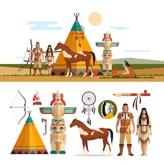 Vectorreeks amerikaanse indische stammenvoorwerpen, ontwerpelementen in vlakke stijl. mannelijke en vrouwelijke indianen, totem en open haard.
