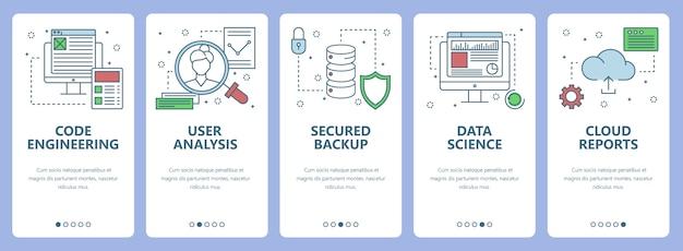 Vectorreeks banners met code-techniek, gebruikersanalyse, beveiligde file, gegevenswetenschap, wolkenrapport
