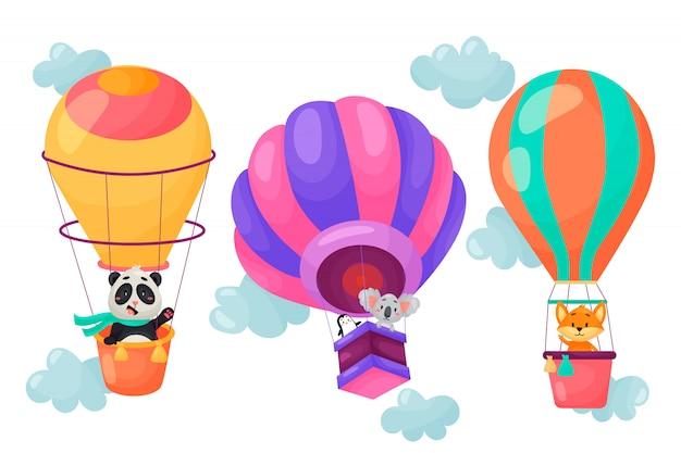Vectorreeks beeldverhaaldieren die op luchtballons vliegen. leuk karakterontwerp van ballonnen in de wolken. vector illustratie. Premium Vector