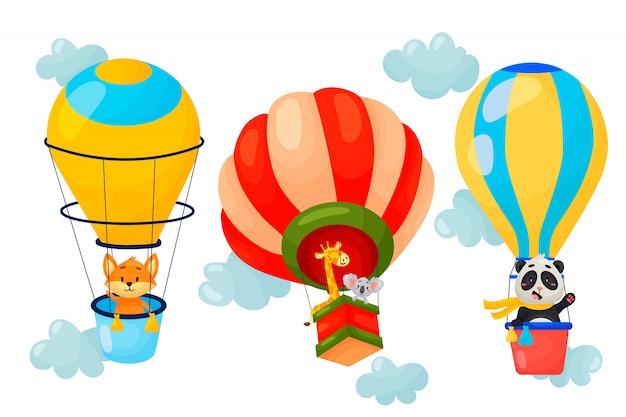 Vectorreeks beeldverhaaldieren die op luchtballons vliegen. leuk karakterontwerp van ballonnen in de wolken. vector illustratie.