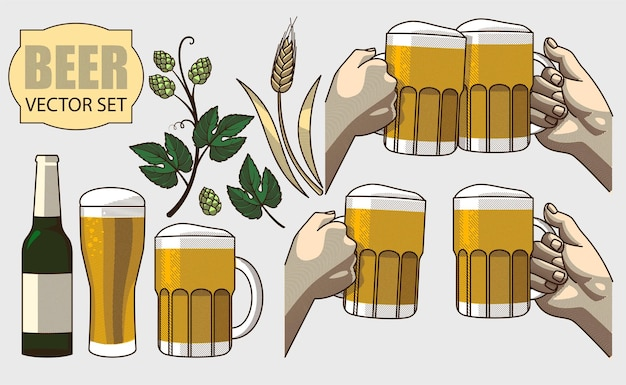 Vectorreeks bierillustraties