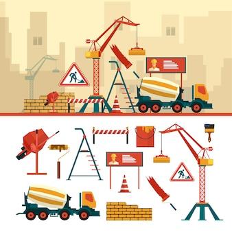 Vectorreeks bouwwerfvoorwerpen en hulpmiddelen. bouw bouwmaterieel. kraan, bakstenen, teken, betonmixer.