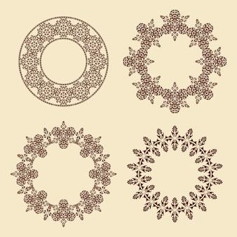 Vectorreeks cirkelvormige kaderornamenten vier ovale sierpatroonranden