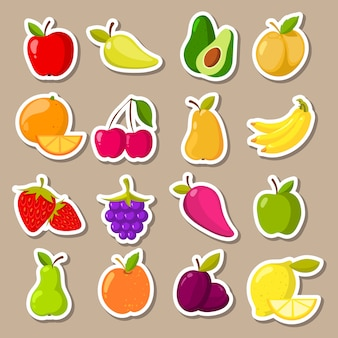 Vectorreeks fruit en bessenstickers