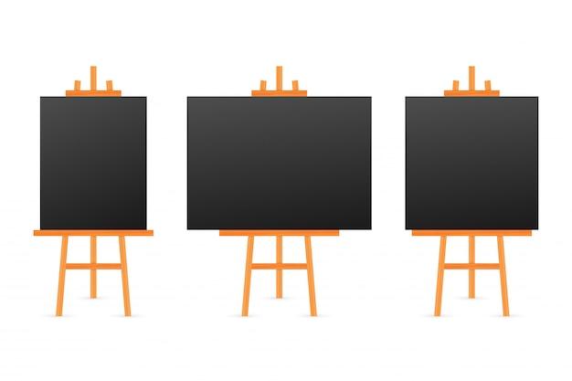 Vectorreeks houten bruine witte sienna-schildersezels met onechte omhoog lege lege vierkante canvases