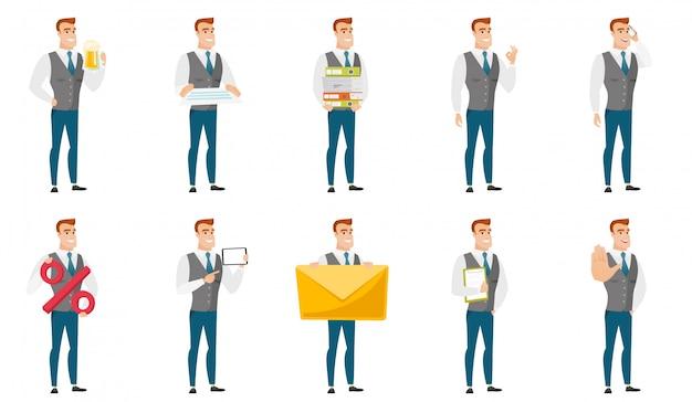 Vectorreeks illustraties met bedrijfsmensen.