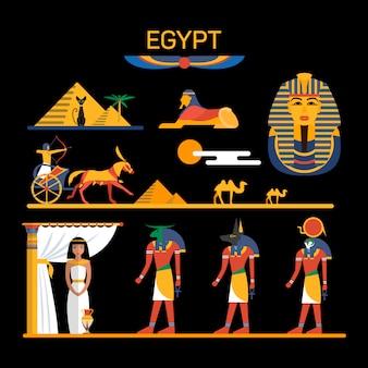 Vectorreeks karakters van egypte met farao, goden, piramides, kamelen. illustratie met egypte geïsoleerde objecten.