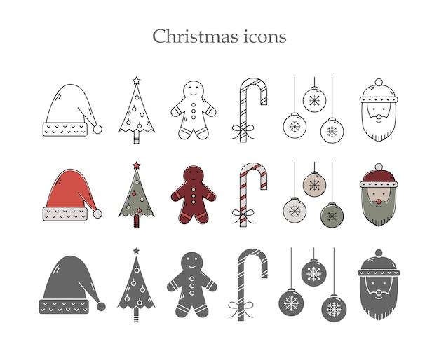 Vectorreeks kerstmispictogrammen in drie stijlen. zeer fijne tekeningen, eenvoudige stijl en kleuromtrek.