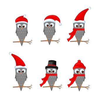 Vectorreeks kerstmisuilen met diverse emoties