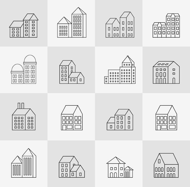 Vectorreeks lineaire stedelijke gebouwen en illustraties van huizen en architecturale tekens. voor website-ontwerp, visitekaartjes, uitnodigingen en flyers op het stedelijke thema met lineaire mode-graphics.