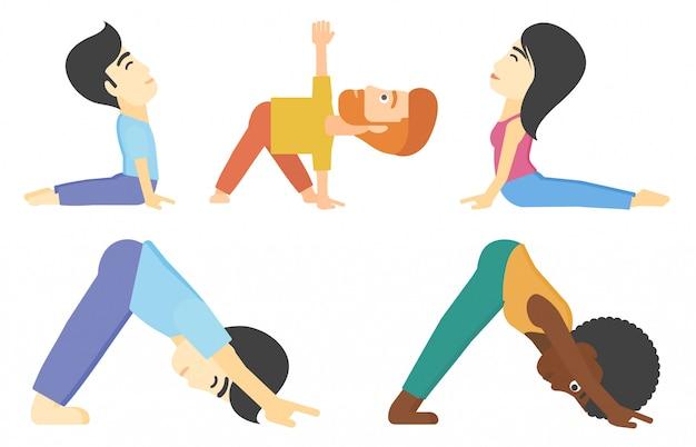 Vectorreeks mannen en vrouwen die yoga uitoefenen.