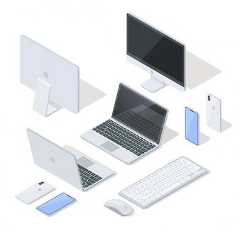 Vectorreeks meest voorkomende apparaten voor werk en plezier