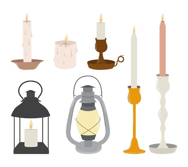 Vectorreeks oude uitstekende kaarsen en lantaarns